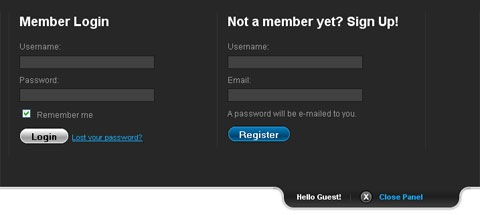 Menu despegable de login jquery