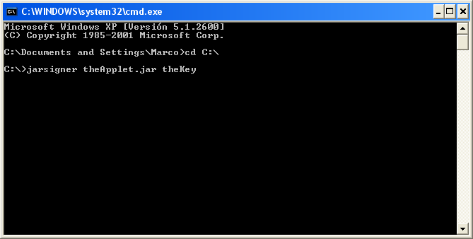 CMD firmar applet java